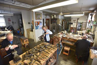 Kamila working in silversmith workshop in Vicenza