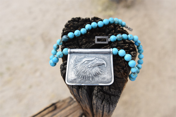 Arizona Boulder turquoise rounds on a strand necklace, with a rectangular 925 silver eagle motif pendant cast by Old World craftsmen in the Czech Republic