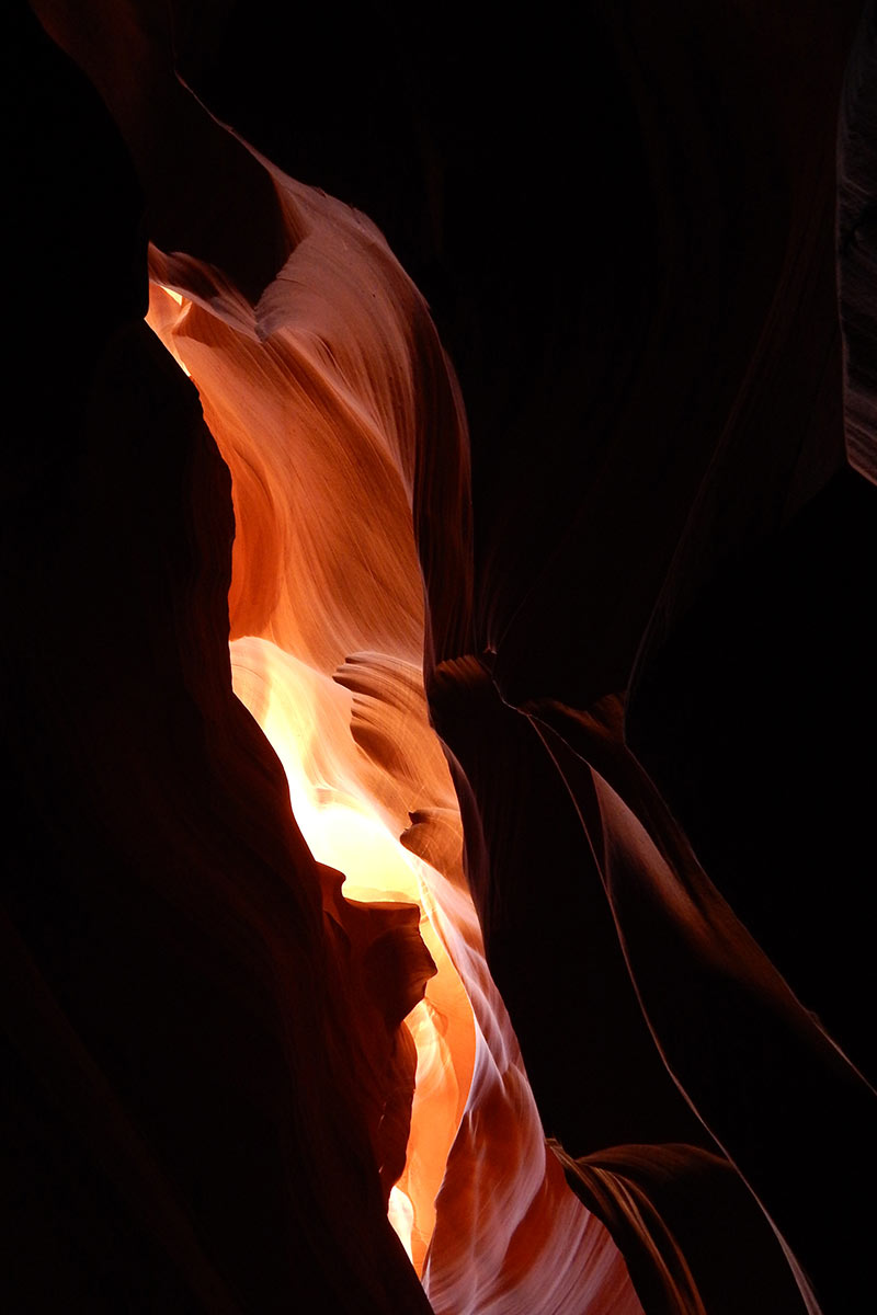 Lower Antelope Canyon, near Page, Arizona: an inspiration for Kamila Kubelik to combine 925 silver tubes hand-hammered by Old World artisans in Italy with Arizona apple coral